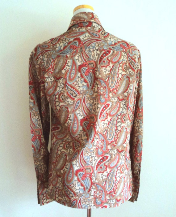 Vintage 1970's Ladies Blouse . Pussy Bow Paisley … - image 4