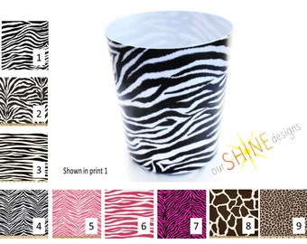 Zebra Wastebasket, Giraffe Wastebasket, Leopard Wastebasket, Animal wastebasket, zebra trash can, nursery wastebasket