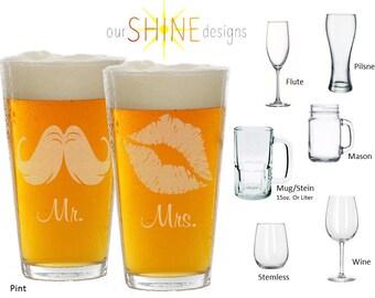Etched Wedding Glasses, Mr and Mrs Glasses, Set of Etched Glasses, Bride and Groom Beer Glass Set, Toasting Glasses, His and Hers Glasses