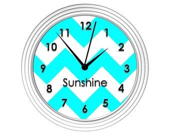Turquoise Chevron Wall Clock - Personalized Wall Clock, Monogrammed Gift, Personalized Gift, Bedroom Clock, Kitchen Clock, Dorm Clock