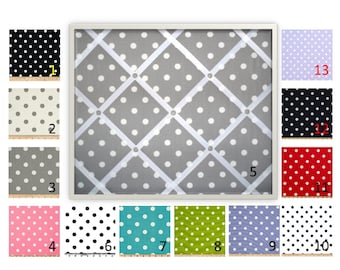 Polka Dot French Memo Board - Bulletin Board - in Your choice of fabric and ribbon colors - 36 x 48 - FREE U.S. Shipping