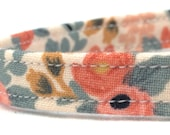 Cat Collar - Rifle Paper Co - Breakaway Cat Collar - Cat Collar with Bell - Le Fleurs Rosa Flora Peach