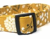 Fall Dog Collar for Boy Girl- Mustard Floral Fabric- Xsmall Small Medium Large XL