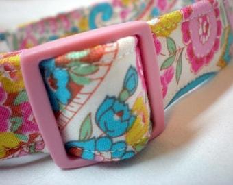 Jennifer Paganelli Fabric Pink Dog Collar for Girl