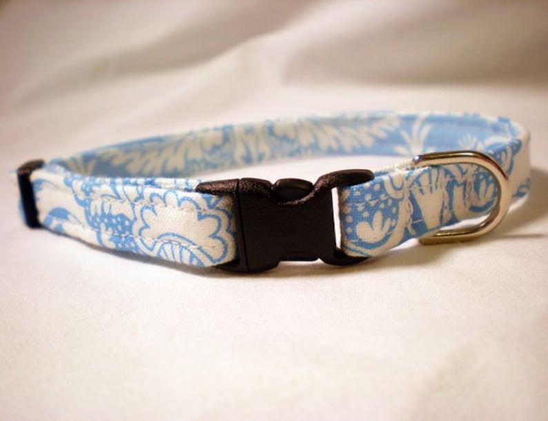 Light Blue Cat Collar with Bell Jennifer Paganelli Fabric Breakaway Cat Collar for Boy