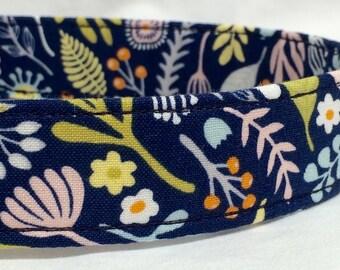 Blue Dog Collar for Boy Flowers Leaves