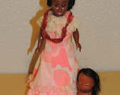 1960s Dashboard Hawaiian Doll and Dressed Plastic Doll