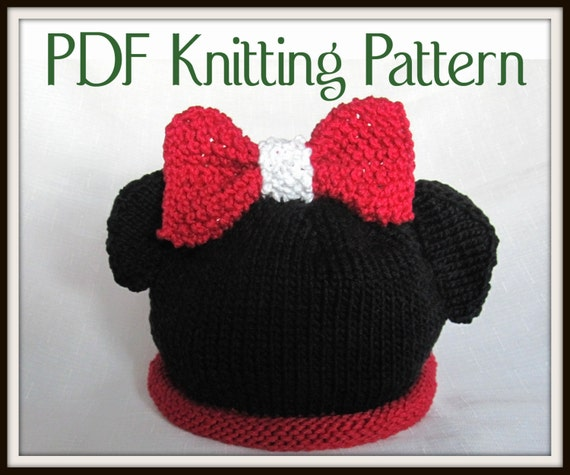 Minnie Mouse Hat Pattern Knit Boston Beanies