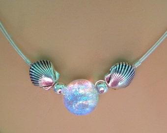 Custom Delicate Dichroic Glass Mermaid Tear Choker in Translucent Tropical Colors, Dainty, Delicate, Silver Sea Shells, Beach Chic, Mermaid