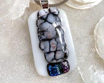Unique Dichroic Fused Glass Pendant, White, Grey, Black and Dichroic Glass, Crackle Glass, Grey Stone Pendant, Monochromatic Colors