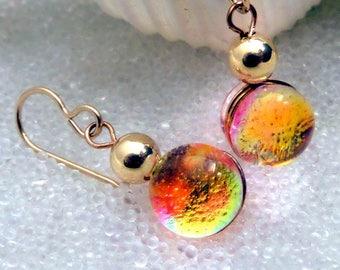 Dichroic Glass Earrings, Translucent Mermaid Tears Sunset Fire Opal Drop Earrings, Fused Glass and 14K Gold Filled Dangle Earrings, Fall
