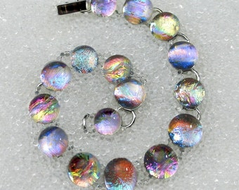 Bracelet in Dichroic Fused Glass Sparkling, Dichroic Glass Mermaid Tears, Gold or Silver Customized Custom