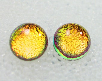 Dichroic Fused Glass Studs, Hypoallergenic Post Earrings, Sparkling Golden Yellow Orange, Customizable Sizes