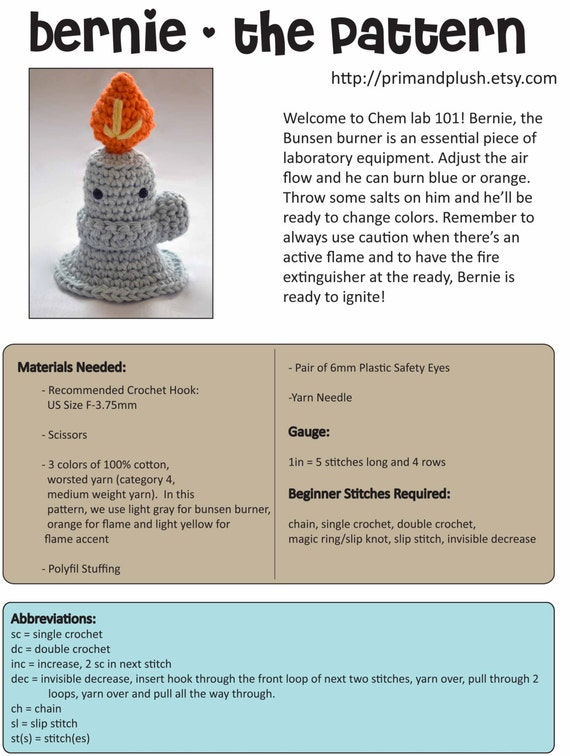 Bernie The Bunsen Burner Crochet Pattern Etsy