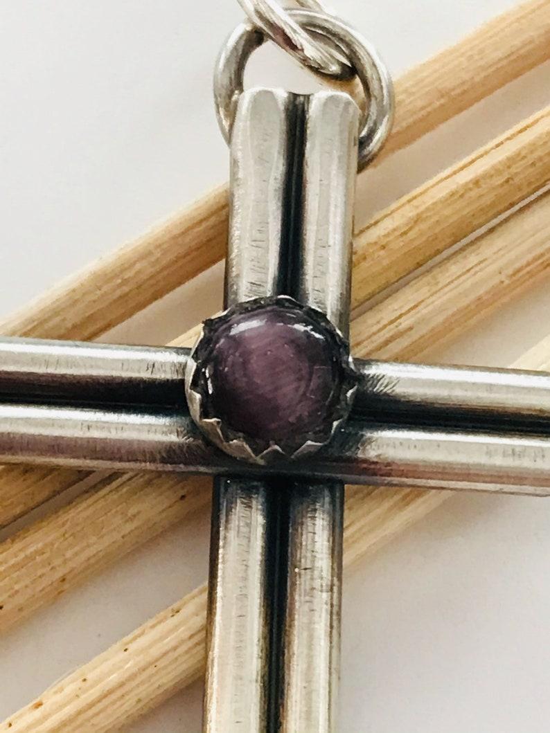 Sterling Silver Cross Purple Cat/'s Eye Religious Thick Sterling Silver Cross