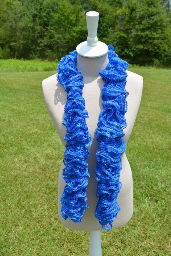 Blue Ruffle Scarf Crochet Ruffle Scarf Sashay Scarf Blue Etsy