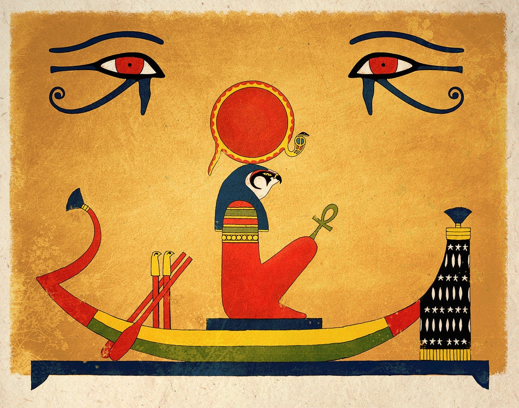 Ancient Egyptian Art Print Sun God Ra Wall Decor | Etsy