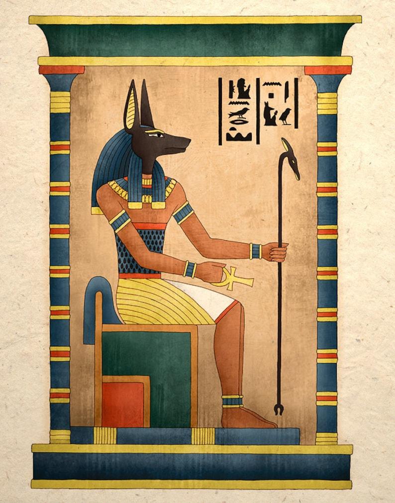Egyptian Art Print Ancient God Anubis image 0