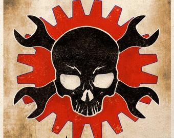Dieselpunk Steampunk Art Print Make Something Skull Motivational Typography Wall Decor