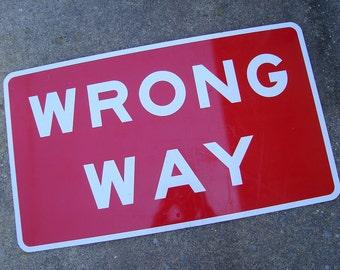 wrong way sign etsy