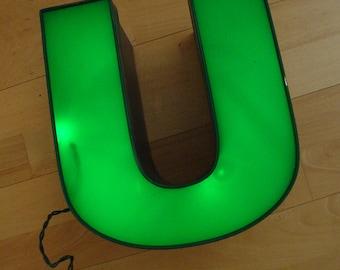Letter U - Large Green Uppercase U - Wall Decor - Decorative Type Art