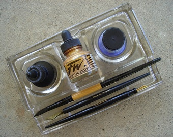 Calligraphy Pen and Ink holder made of Clear Glass - ON SALE