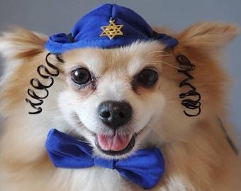 DOG KIPPAH Hanukkah hat  and bow set for dog or cat