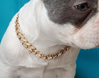 Cuban Link  /Supper cute dog neck chain gold color/ Jewelry for pet /Jewelry collar for  Frenchie/Cat neck jewelry collar /