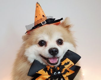 Witch hat for dog/  Halloween hat with bow tie/Dog costume/Halloween  costume/Cat Halloween costume/