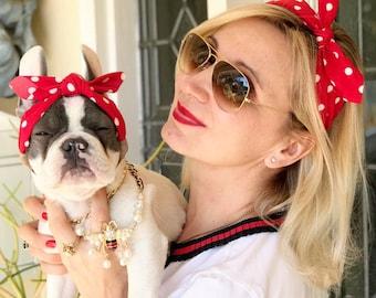 Matching set  headbands /headband  for dog or cat /headband for dogs/Gift set/