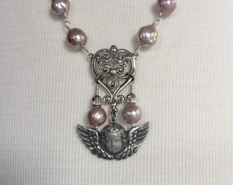 Pearls Faceted Clear Crystal Rondelles One of A Kind TIP TOE ANGEL Sterling Silver Cazenovia Thrush Artisan Assemblage Necklace