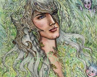 WOODLAND DEITY limited edition art print