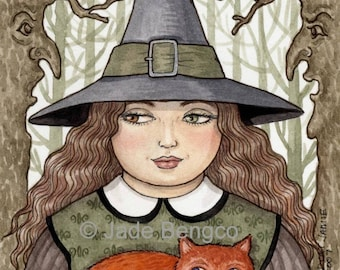 Witch CLAIRE and RED CAT Jamie limited edition art print