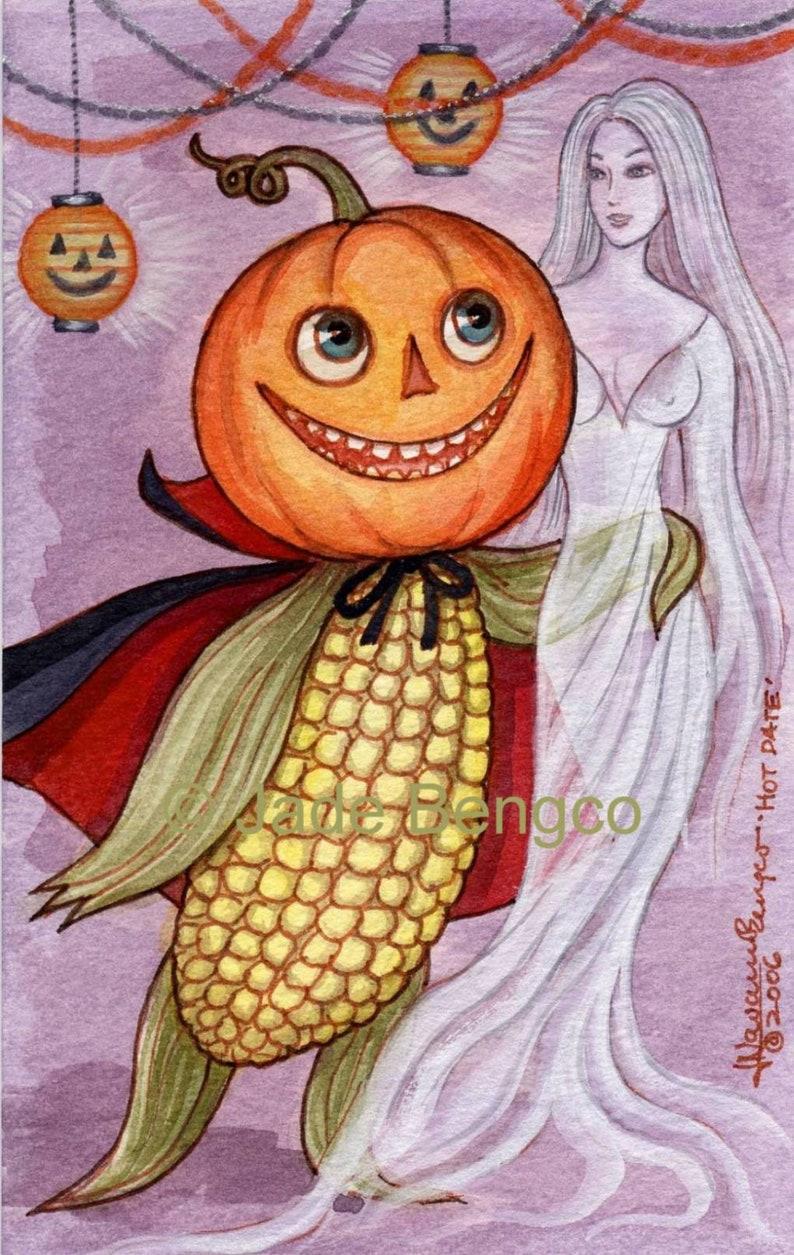 HOT DATE--Halloween Fantasy Art Print from an Original Fantasy Art Painting