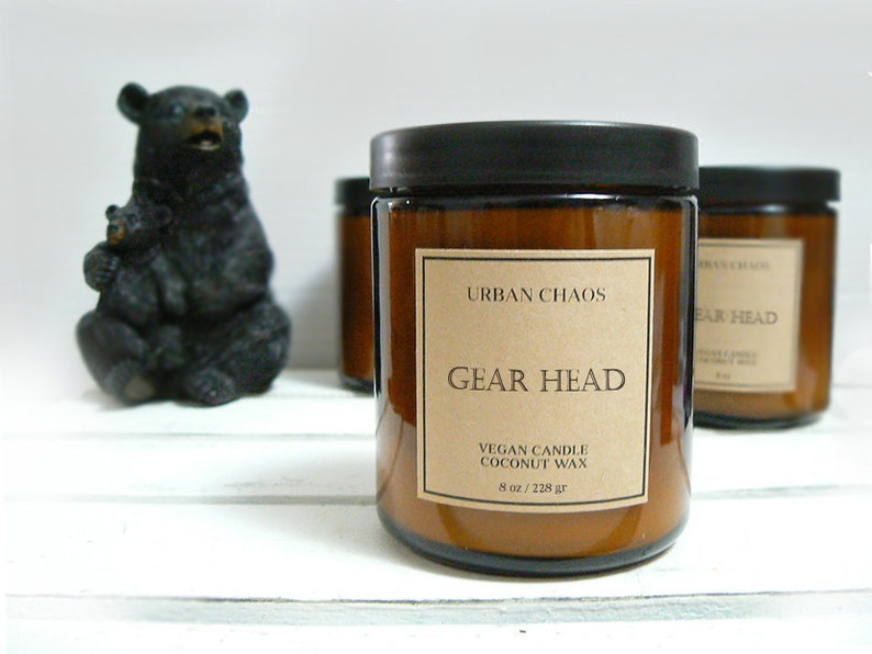 Gear Head Candle w/ Woodwick  Motor Oil Scented Candle image 0