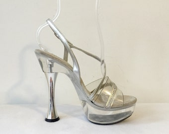 32b1571a97a Vintage 90s Rhinestone Silver Clear Lucite Sexy Stiletto Pumps Platform  Open Toe High Heels Size 6 1 2 Stripper Punk Rocker Baby Doll Shoes