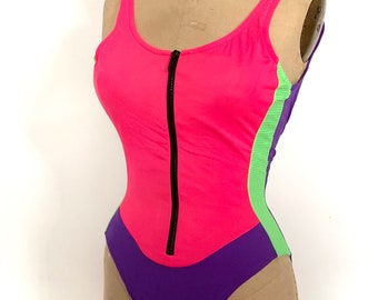89bcefc9e1 Vintage 80s 90s Sporty Neon Purple Pink Green Ribbed Swim Bathing Suit  French Cut One Piece 1980s 1990s Medium Small Swimsuit Summer Zipper