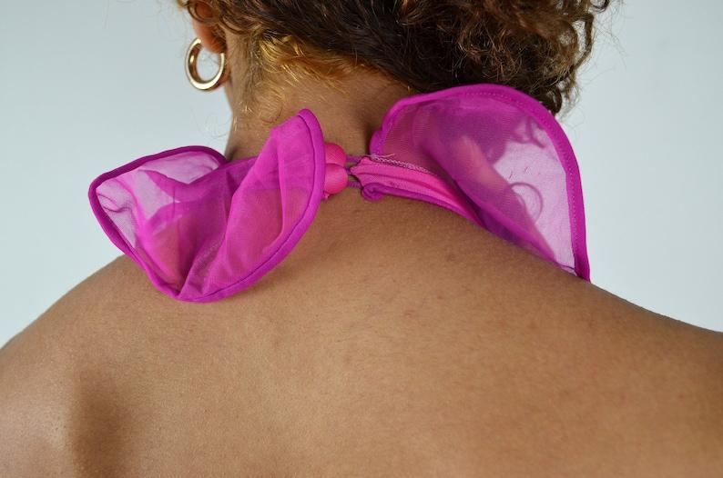 Vintage 60s 70s Halter Slip  1960s Vintage Negligee  Lingerie  Nightgown  Pin Up Pinup  Medium  1970s  Boudoir  Purple Pink Slip