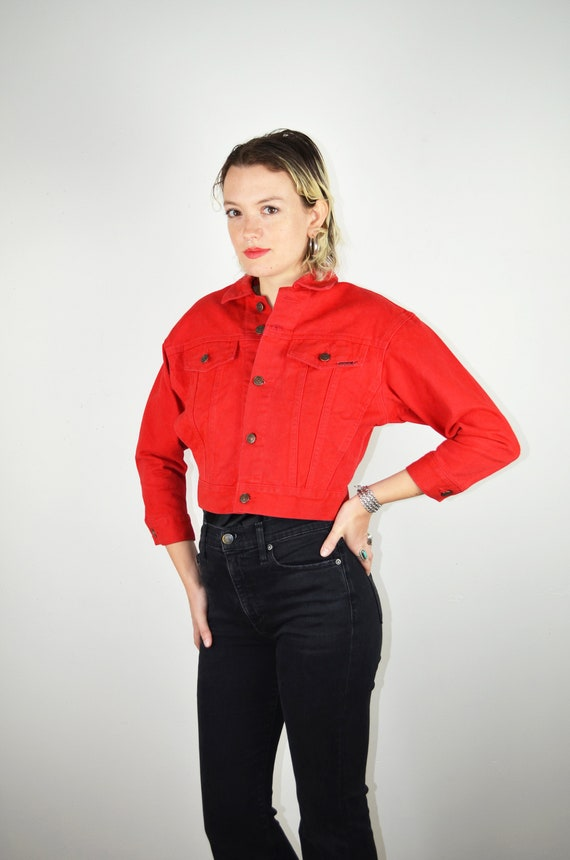 Vintage 90s Jordache Denim Jacket / Red Denim / Vi