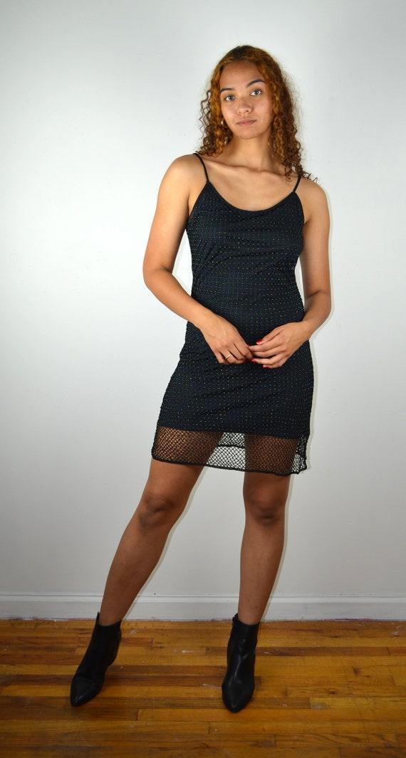 Vintage Y2K 90s Black Mesh Slip Dress / Y2K Vintag