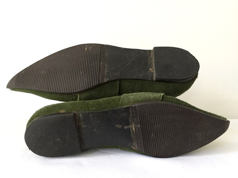 Vintage 80s 1980s John Fluevog RARE Pointy Toe Green Leather Flats Large Silver Buckle Size 8 Punk Cosplay