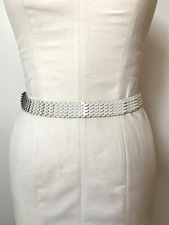 Vintage Belt 1980s 1990s White Metal Stretchy Elas