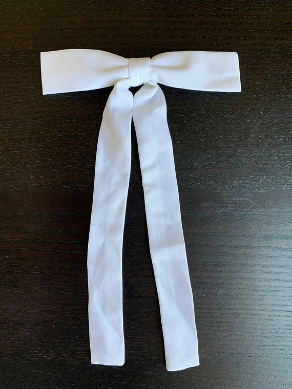 1950s Vintage White Bow Tie / 50s Western Clip-on