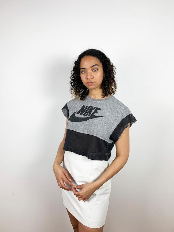 Vintage 80s Crop Top Nike Shirt Gray Black Mesh 19
