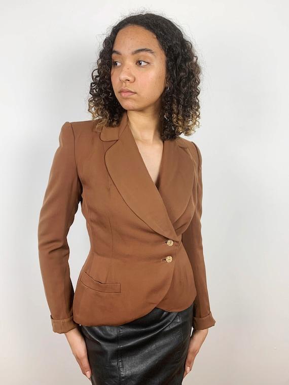 Vintage 40s Tulip Peplum Suit Jacket, 40s Brown Wo