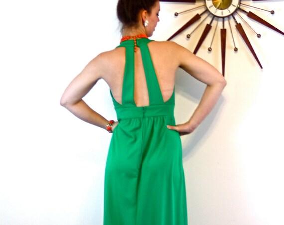 70s Maxi Dress, 70s Disco Dress, Emerald Green dress, low V-Neck, Sexy Open Back, Sleeveless Maxi, Cocktail Hostess, Vintage 1970s Dress, M