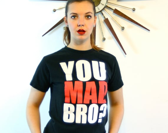 YOU MAD BRO?, You Mad Bro t-shirt, 2 Mon Keys, Black Cotton tee, vintage t-shirt, Youth Boys tee, Black & White Red tee, Skater Tee, Size S