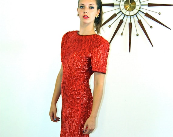 Red Beaded Mini Dress, STENAY Sexy Evening dress, Vintage 1980s dress, Pencil skirt dress, Tight short fitted dress, Sexy 80s dress, Sz S