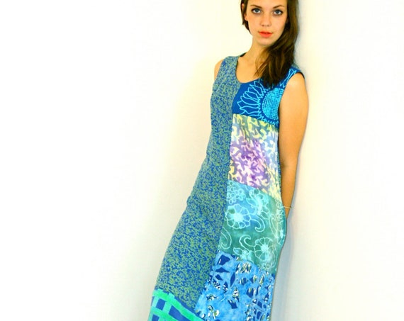 Vintage 90s Dress, Tropical Beach dress, Long Sheath dress, Aqua Blue Batik Patchwork Straight Column, colorful sack dress, ankle length