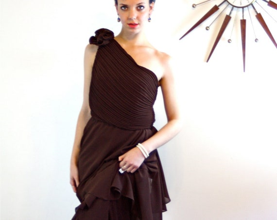 Vintage Chiffon Maxi Dress, 80s prom dress, 1980s Cocktail Party dress, Dark Chocolate Brown, One Shoulder dress, Draped Pleated tiered